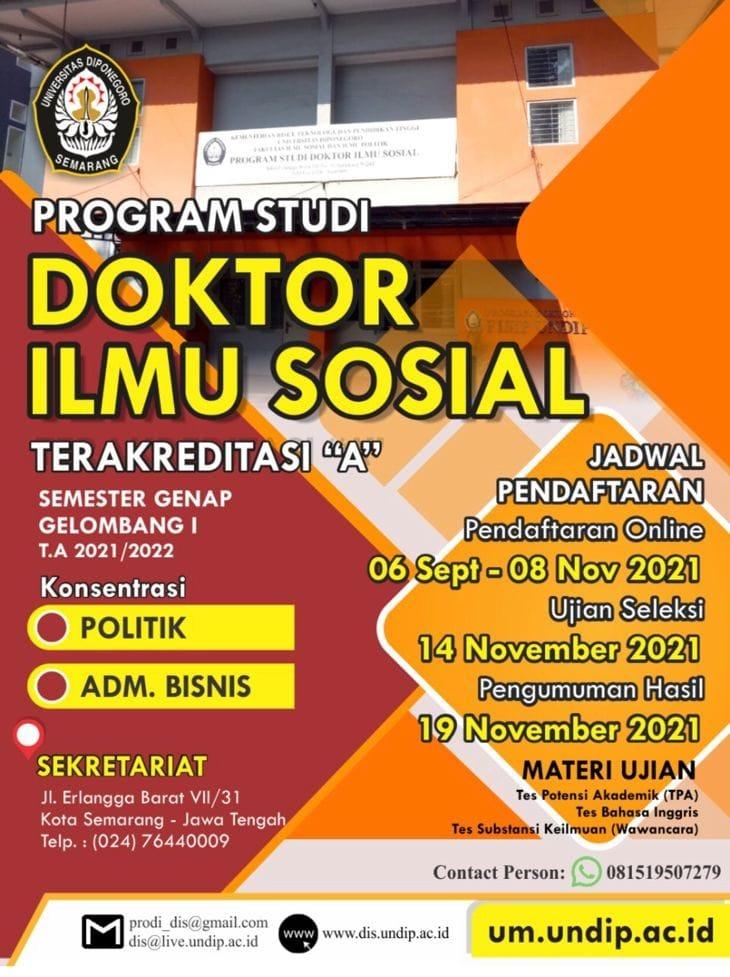 Penerimaan Mahasiswa Baru Program Studi Doktor Ilmu Sosial – Universitas Diponegoro